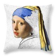 Pearl Earring Digital Art Throw Pillow