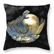 Pearl Egg Lizard Throw Pillow