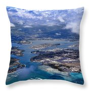 Pearl Harbor Aerial View Throw Pillow