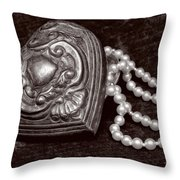 Pearls From The Heart - Sepia Throw Pillow