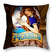 Pearls Oyster Bar Throw Pillow