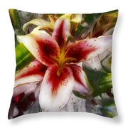 Pearly Petals Satin Leaves Throw Pillow