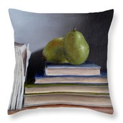Pears And Books Throw Pillow