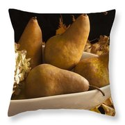 Pears And Hydrangea Still Life  Throw Pillow