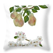 Pears And Pear Blossoms Throw Pillow