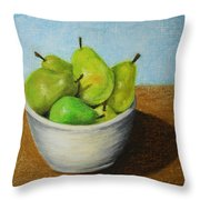 Pears In Bowl 2 Throw Pillow