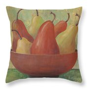 Pears In Copper Bowl Throw Pillow