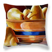 Pears In Yelloware Throw Pillow