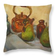 Pears With Copper Kettle Throw Pillow
