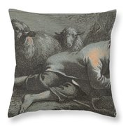 Peasant Boy Asleep Near Two Sheep Throw Pillow