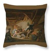 Peasant Brawl In A Tavern Throw Pillow