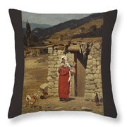 Peasant Carrying Water Throw Pillow