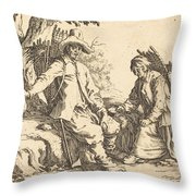 Peasant Couple At Rest Throw Pillow