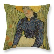 Peasant Girl In Straw Hat Throw Pillow