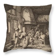 Peasant Settling His Debt Throw Pillow