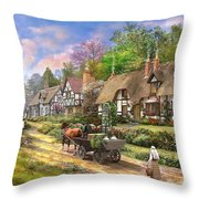 Peasant Village Life Throw Pillow