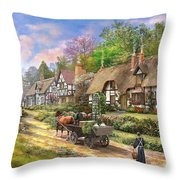 Peasant Village Life Variant 1 Throw Pillow
