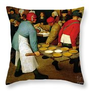 Peasant Wedding Throw Pillow by Pieter the Elder Bruegel