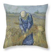 Peasant Woman Binding Sheaves After Millet Saint Remy De Provence  September 1889 Vincent Van Gogh Throw Pillow