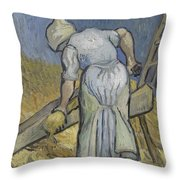 Peasant Woman Bruising Flax After Millet Saint Remy De Provence September 1889 Vincent Van Gogh  Throw Pillow