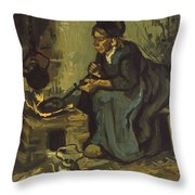 Peasant Woman Cooking By A Fireplace Throw Pillow