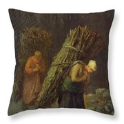 Peasant Women With Brushwood Throw Pillow