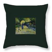 Peasants Carrying Straw Montfoucault 1875 Camille Pissarro Throw Pillow