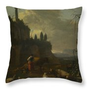 Peasants With Cattle By A Ruin Throw Pillow