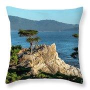 Pebble Beach Iconic Tree With Sun Light At Dusk Throw Pillow