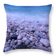 Pebble Shore Of Georgian Bay In Winter Throw Pillow by Oleksiy Maksymenko