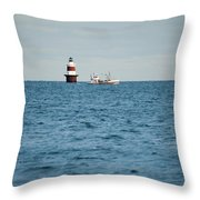 Peck Ledge Lighthouse Throw Pillow