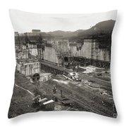 Pedro Miguel Locks, Panama Canal, 1910 Throw Pillow