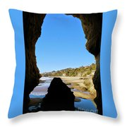 Peeking From Coastal Cave Throw Pillow