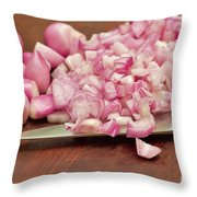 Peeled And Chopped Shallots Throw Pillow