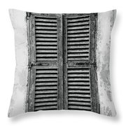 Peeling Shutters Black And White Throw Pillow