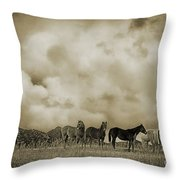 Peeples Valley Horses In Sepia Throw Pillow