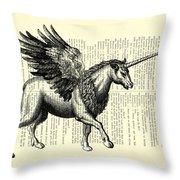Pegasus Black And White Throw Pillow