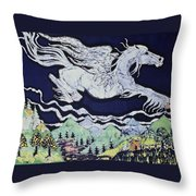 Pegasus Flying Over Stream Throw Pillow