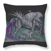 Pegasus Mare And Foal Throw Pillow