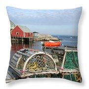 Peggys Cove And Lobster Traps Throw Pillow