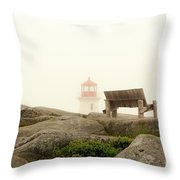 Peggy's Cove Lighthouse And The Banch Throw Pillow