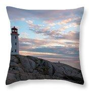 Peggys Cove Lighthouse At Dusk Throw Pillow