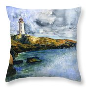 Peggy's Cove Lighthouse Landscape Throw Pillow