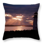 Peggy's Cove Lighthouse Silhouette Throw Pillow