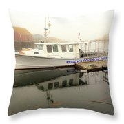 Peggy's Cove Tours Boat In The Rain Throw Pillow