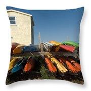 Pei Kayaks Building And Sky Throw Pillow
