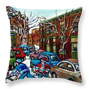 Peintures De Montreal Scene De Pointe St Charles Rue Grand Trunk Throw Pillow