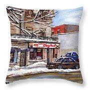 Peintures Petits Formats A Vendre Montreal Original Art For Sale Restaurant Chez Paul The Pointe Psc Throw Pillow