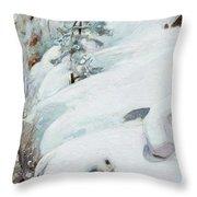 Pekka Halonen, Winter Landscape Throw Pillow