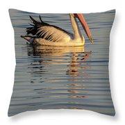 Pelican At Sunset 1 Throw Pillow